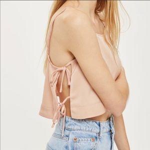 Top Shop Side Tie Crop Top I'm Nude Pink